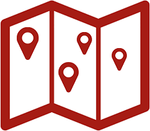 Karte mit Standortmarkierungen